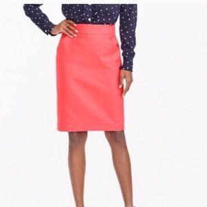J Crew Coral The Pencil Skirt Sz 12